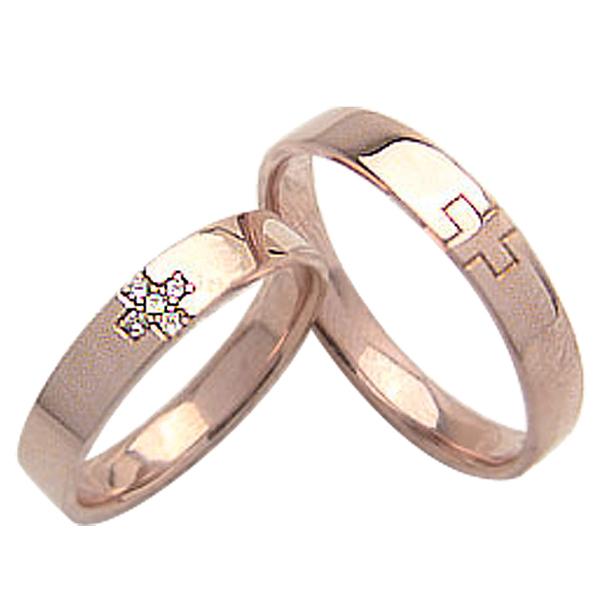 結婚指輪 ゴールド クロス ダイヤモンド ペアリング ピンクゴールドK10 マリッジリング 十字架 10金 2本セット ペア 文字入れ 刻印 可能 婚約 結婚式 ブライダル ウエディング ギフト 新生活 在宅 ファッション 自粛