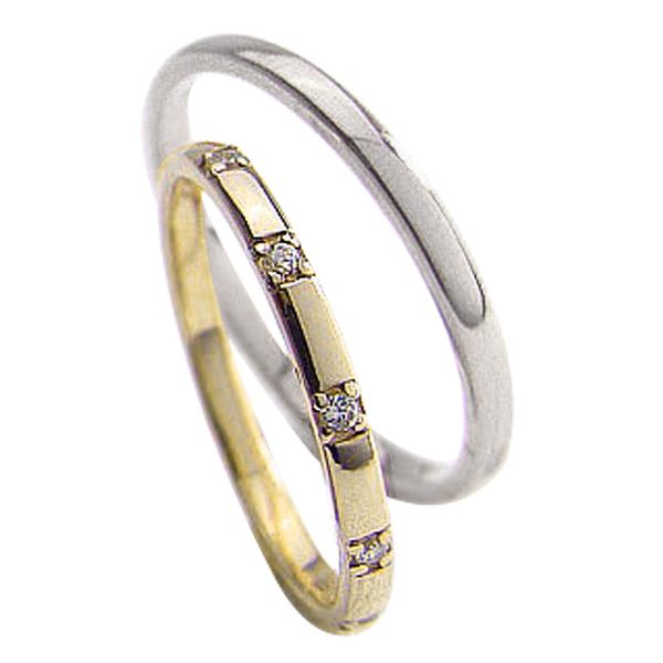 ペアリング ゴールド 結婚指輪 マリッジリング 2本セット 毎日がバーゲンセール レディース メンズ セット価格 バーゲンセール 送料無料 ファイヴストーン ダイヤモンドリング イエローゴールドK18 ホワイトゴールドK18 ストレート 文字入れ ウエディング 刻印 ブライダル 婚約 可能 ホワイトデー 18金 結婚式 プレゼント ペア