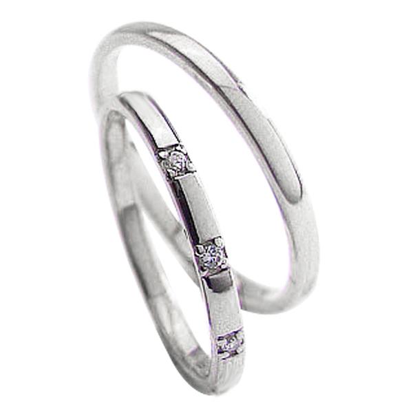 結婚指輪 プラチナ スリーストーン ダイヤモンドリング ペアリング Pt900 トリロジー マリッジリング 2本セット ペア 文字入れ 刻印 可能 婚約 結婚式 ブライダル ウエディング 新生活 在宅 ファッション