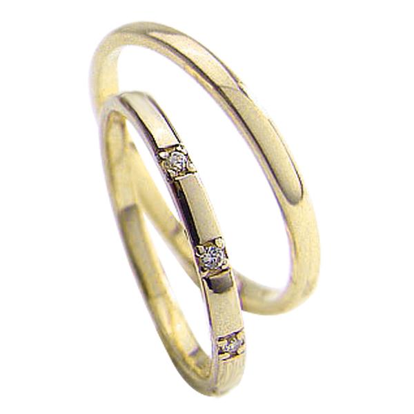 結婚指輪 ゴールド スリーストーン ダイヤモンドリング ペアリング イエローゴールドK18 トリロジー マリッジリング 18金 2本セット ペア 文字入れ 刻印 可能 婚約 結婚式 ブライダル ウエディング 新生活 在宅 ファッション 自粛