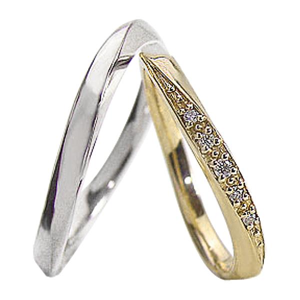 結婚指輪 ゴールド カーブデザイン ウェーブライン ダイヤモンド ペアリング イエローゴールドK10 ホワイトゴールドK10 マリッジリング 10金 2本セット ペア 文字入れ 刻印 可能 婚約 結婚式 ブライダル ウエディング ギフト 新生活 在宅 ファッション 自粛