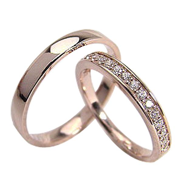 結婚指輪 ゴールド エタニティリング 平打ち ペアリング ダイヤモンド 0.20ct ピンクゴールドK10 マリッジリング 10金 2本セット ペア 文字入れ 刻印 可能 婚約 結婚式 ブライダル ウエディング ギフト 新生活 在宅 ファッション
