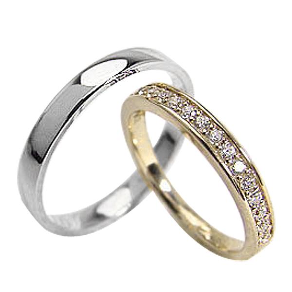 結婚指輪 ゴールド エタニティリング 平打ち ペアリング ダイヤモンド 0.20ct イエローゴールドK18 ホワイトゴールドK18 マリッジリング 18金 2本セット ペア 文字入れ 刻印 可能 婚約 結婚式 ブライダル ウエディング ギフト 新生活 在宅 ファッション