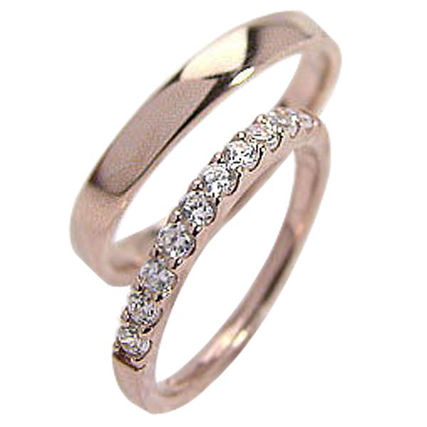 結婚指輪 ペアリング 店舗 激安 激安特価 送料無料 マリッジリング ピンクゴールドK10 ハーフエタニティ pairring K10PG 記念日 天然ダイヤモンド0.30ct ホワイトデー プレゼント