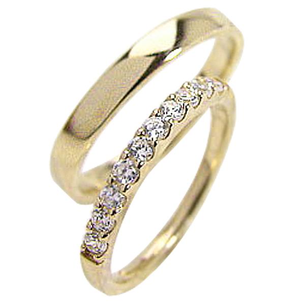 結婚指輪 ペアリング 卓抜 マリッジリング 大規模セール 送料無料 イエローゴールドK10 ハーフエタニティ プレゼント 記念日 K10YG pairring 天然ダイヤモンド0.30ct ホワイトデー