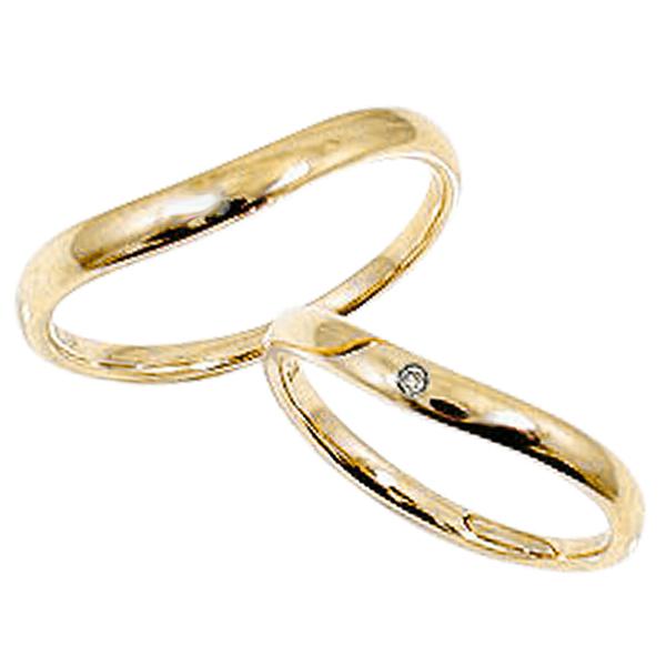 ペアリング イエローゴールドK18 一粒ダイヤモンド 結婚指輪 刻印 文字入れ 可能 2本セット ブライダル マリッジリング K18YG pairring ギフト 新生活 在宅 ファッション