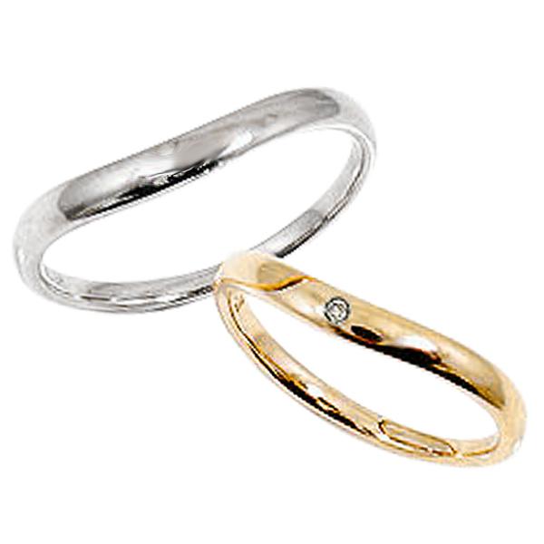 ペアリング イエローゴールドK18 ホワイトゴールドK18 結婚指輪 刻印 文字入れ 可能 2本セット ブライダル婚約 記念日 マリッジリング ダイヤモンド 18金 pairring ギフト 新生活 在宅 ファッション