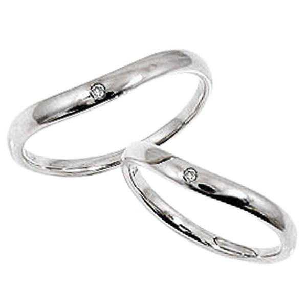 一粒ダイヤモンド 結婚指輪 ゴールド Vライン ペアリング ホワイトゴールドK18 18金 2本セット ペア 文字入れ 刻印 可能 婚約 結婚式 ブライダル ウエディング ギフト 新生活 在宅 ファッション