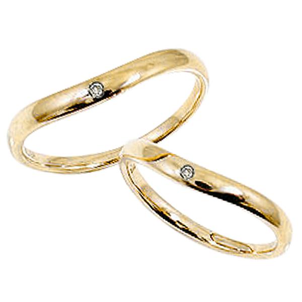 一粒ダイヤモンド ペアリング イエローゴールドK18 刻印 文字入れ 可能 2本セット ブライダル 婚約 記念日 マリッジリング K18YG pairring ギフト 新生活 在宅 ファッション