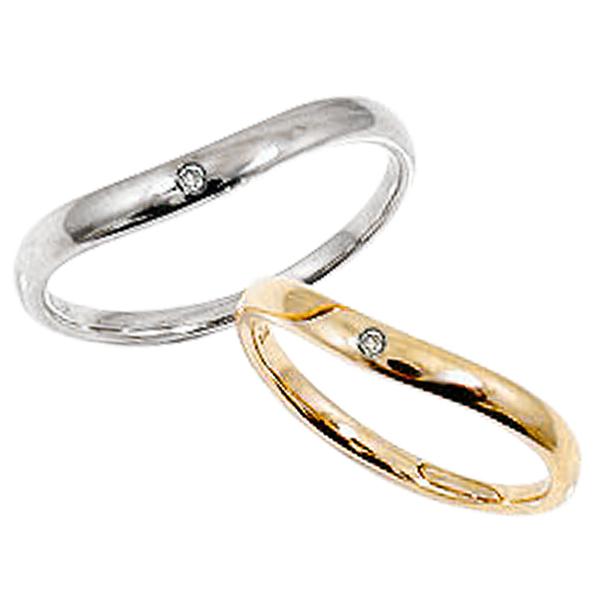 一粒ダイヤモンド ペアリング イエローゴールドK18 ホワイトゴールドK18 婚約 記念日 マリッジリング K18YG K18WG 刻印 文字入れ 可能 2本セット ブライダル アクセサリー ギフト 新生活 在宅 ファッション