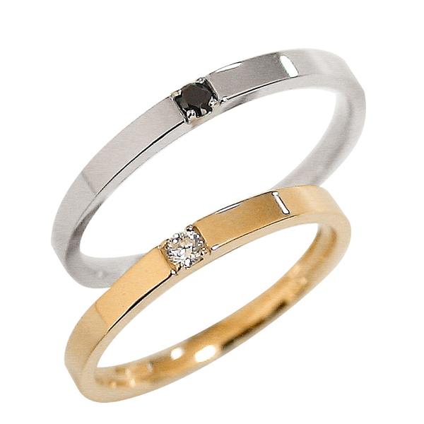 結婚指輪 一粒ダイヤモンド ブラックダイヤモンド ピンクゴールドK10 ホワイトゴールドK10 ペアリング マリッジリング 10金 刻印 文字入れ 可能 2本セット ブライダル pairring ギフト 新生活 在宅 ファッション 自粛