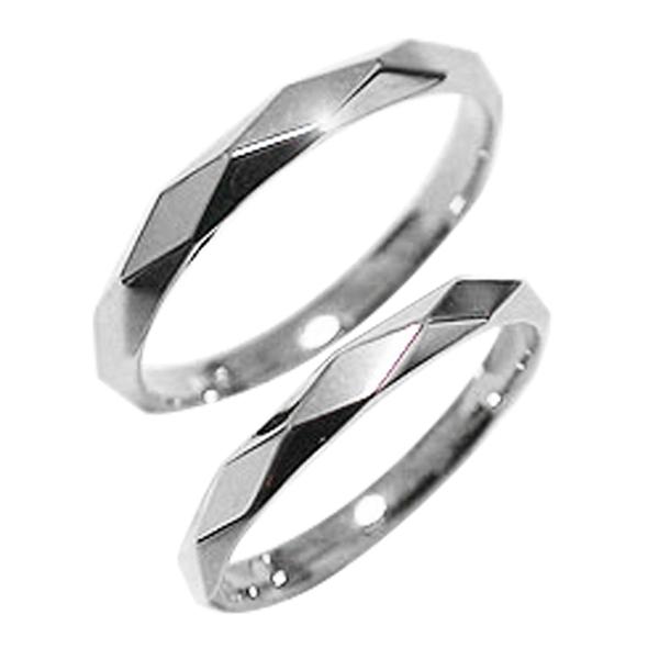 結婚指輪 ひし形カット ペアリング ホワイトゴールドK10 マリッジリング 10金 刻印 文字入れ 可能 2本セット ブライダル 結婚式 ウエディング 記念日 新生活 在宅 ファッション 自粛