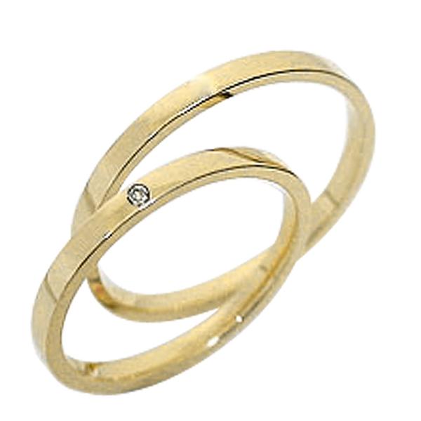 結婚指輪 一粒ダイヤ ペアリング イエローゴールドK18 ダイヤモンド マリッジリング 18金 2本セット 文字入れ 刻印 可能 婚約 結婚式 ブライダル ウエディング ギフト 新生活 在宅 ファッション