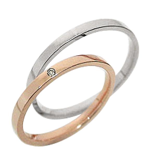 結婚指輪 一粒ダイヤ ペアリング ピンクゴールドK10 ホワイトゴールドK10 マリッジリング ダイヤモンド 10金 2本セット 文字入れ 刻印 可能 婚約 結婚式 ブライダル ウエディング ギフト 新生活 在宅 ファッション
