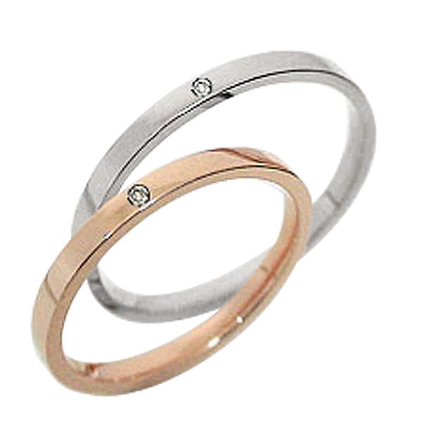 結婚指輪 一粒ダイヤモンド ペアリング ピンクゴールドK10 ホワイトゴールドK10 マリッジリング 2本セット 文字入れ 刻印 可能 婚約 結婚式 ブライダル ウエディング ギフト 新生活 在宅 ファッション 自粛