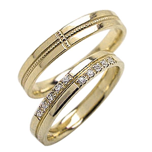 クロス ペアリング ダイヤモンド ミル打ち イエローゴールドK10 結婚指輪 十字架デザイン マリッジリング 10金 2本セット 文字入れ 刻印 可能 婚約 結婚式 ブライダル ウエディング ギフト 新生活 在宅 ファッション