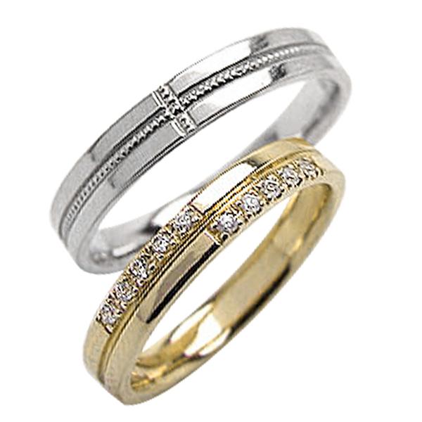 結婚指輪 ペアリング マリッジリング 工房 直販 定番 当店は最高な サービスを提供します 送料無料 贈答品 クロス ダイヤモンド ミル打ち イエローゴールドK10 ホワイトゴールドK10 刻印 10金 ホワイトデー ブライダル 文字入れ 婚約 結婚式 ウエディング 十字架 プレゼント 2本セット 可能