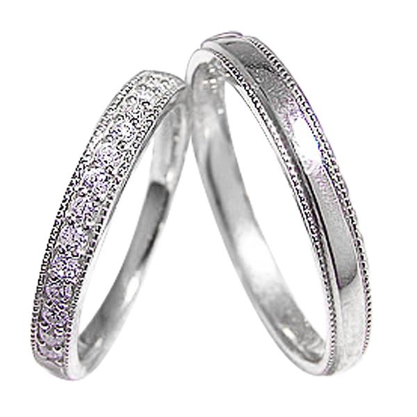 結婚指輪 プラチナ ペアリング ダイヤモンド Pt900 ミル打ち デザイン マリッジリング 2本セット 文字入れ 刻印 可能 結婚式 ブライダル ギフト 新生活 在宅 ファッション