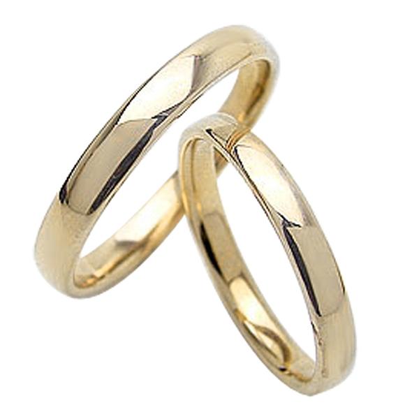 結婚指輪 定番 ゴールド 平甲丸 2.5mm 3mm幅 ペアリング イエローゴールドK10 マリッジリング 10金 2本セット