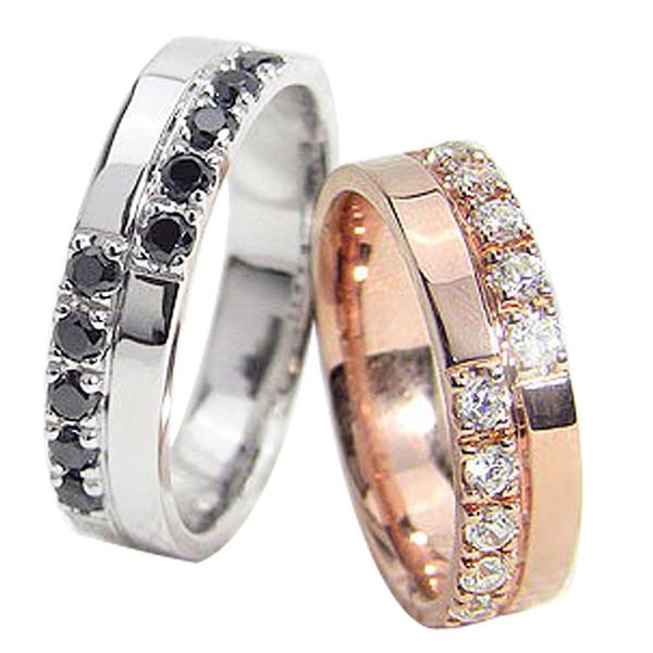 結婚指輪 ゴールド クロス ダイヤモンド ブラックダイヤモンド 幅広 ペアリング ピンクゴールドK18 ホワイトゴールドK18 マリッジリング 18金 2本セット 文字入れ 刻印 可能 婚約 結婚式 ブライダル ウエディング ギフト 新生活 在宅 ファッション