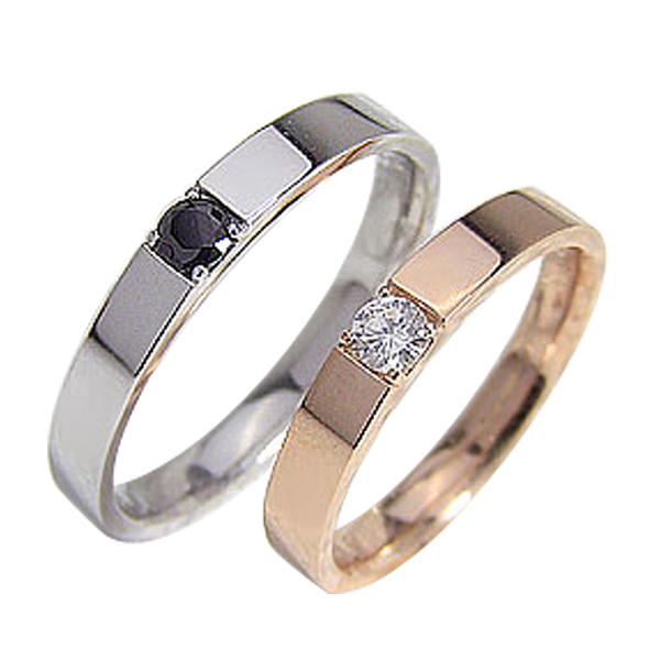 結婚指輪 ゴールド 一粒ダイヤモンド ブラックダイヤモンド ペアリング ピンクゴールドK18 ホワイトゴールドK18 マリッジリング 18金 2本セット ペア 文字入れ 刻印 可能 婚約 結婚式 ブライダル ウエディング ギフト 新生活 在宅 ファッション