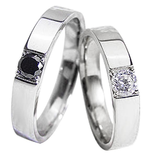 結婚指輪 プラチナ 一粒ダイヤモンド ブラックダイヤモンド 0.2ct ペアリング Pt900 マリッジリング 2本セット【結婚指輪】【ペアリング】【マリッジリング】【プラチナ】 新生活 在宅 ファッション