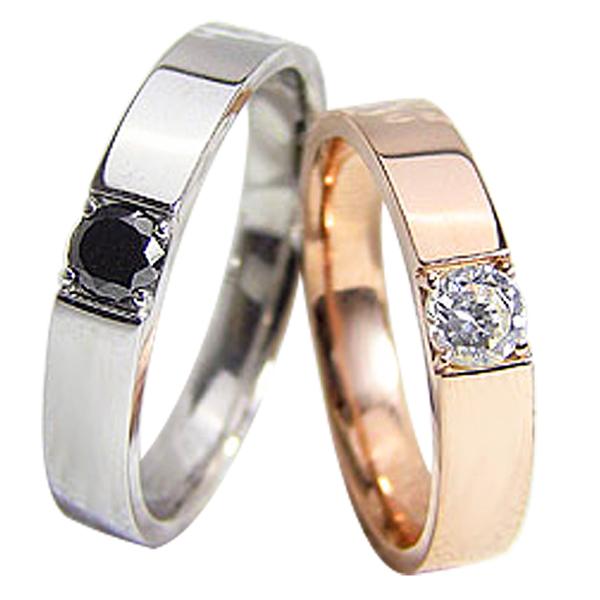 ペアリング ゴールド 一粒ダイヤモンド ブラックダイヤモンド 0.2ct 結婚指輪 ピンクゴールドK10 ホワイトゴールドK10 マリッジリング 10金 2本セット ペア 文字入れ 刻印 可能 婚約 結婚式 ブライダル ウエディング ギフト 新生活 在宅 ファッション 自粛
