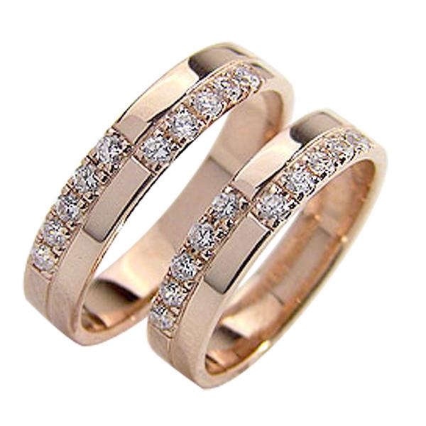 結婚指輪 ゴールド クロス ダイヤモンド ペアリング マリッジリング 十字架 ピンクゴールドK10 10金 2本セット ペア 文字入れ 刻印 可能 婚約 結婚式 ブライダル ウエディング ギフト 新生活 在宅 ファッション