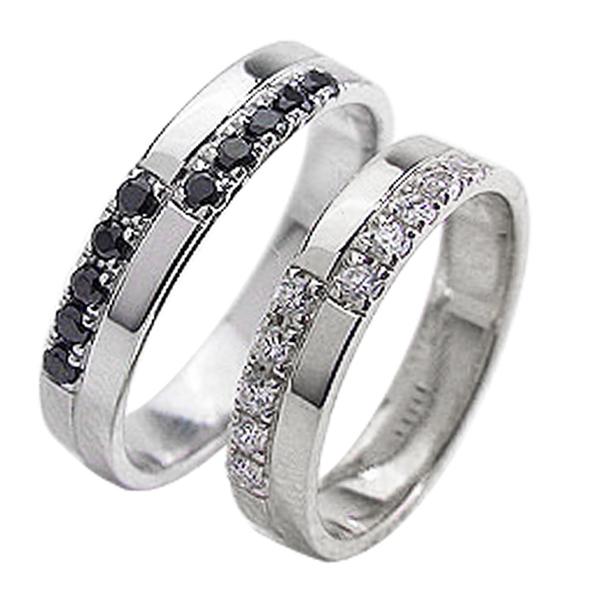 結婚指輪 プラチナ クロス ダイヤモンド ブラックダイヤモンド 0.2ct ペアリング Pt900 マリッジリング 2本セット ペア 文字入れ 刻印 可能 婚約 結婚式 ブライダル ウエディング ギフト 新生活 在宅 ファッション