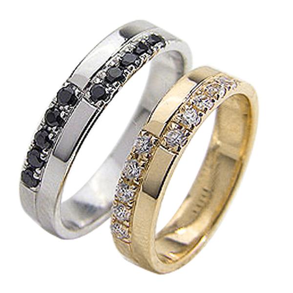 結婚指輪 ゴールド クロス ダイヤモンド ブラックダイヤモンド 0.2ct ペアリング イエローゴールドK18 ホワイトゴールドK18 マリッジリング 18金 2本セット 文字入れ 刻印 可能 婚約 結婚式 ブライダル ウエディング ギフト 新生活 在宅 ファッション 自粛