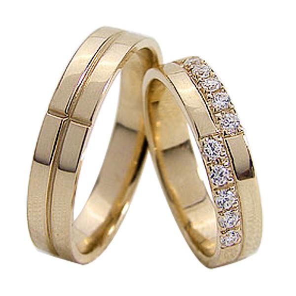 結婚指輪 ゴールド クロス ダイヤモンド ペアリング マリッジリング 十字架 イエローゴールドK18 18金 2本セット ペア 文字入れ 刻印 可能 婚約 結婚式 ブライダル ウエディング ギフト 新生活 在宅 ファッション 自粛