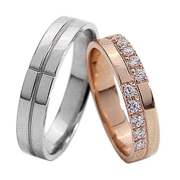 結婚指輪 ゴールド クロス ダイヤモンド ペアリング マリッジリング 十字架 ピンクゴールドK18 ホワイトゴールドK18 18金 2本セット ペア 文字入れ 刻印 可能 婚約 結婚式 ブライダル ウエディング ギフト 新生活 在宅 ファッション
