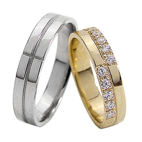結婚指輪 ゴールド クロス ダイヤモンド ペアリング マリッジリング 十字架 イエローゴールドK10 ホワイトゴールドK10 10金 2本セット ペア 文字入れ 刻印 可能 婚約 結婚式 ブライダル ウエディング ギフト 新生活 在宅 ファッション
