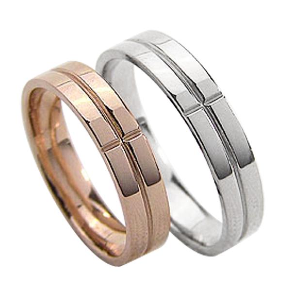 結婚指輪 ゴールド クロス ペアリング シンプル ピンクゴールドK18 ホワイトゴールドK18 マリッジリング 18金 2本セット ペア 文字入れ 刻印 可能 婚約 結婚式 ブライダル ウエディング ギフト 新生活 在宅 ファッション