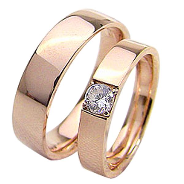 結婚指輪 ゴールド 一粒ダイヤモンドリング 0.2ct 平打ち ペアリング ピンクゴールドK10 マリッジリング 10金 2本セット ペア 文字入れ 刻印 可能 婚約 結婚式 ブライダル ウエディング ギフト 新生活 在宅 ファッション