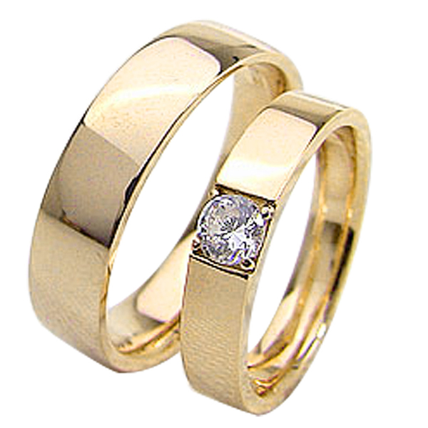 結婚指輪 ゴールド 一粒ダイヤモンドリング 0.2ct 平打ち ペアリング イエローゴールドK10 マリッジリング 10金 2本セット ペア 文字入れ 刻印 可能 婚約 結婚式 ブライダル ウエディング ギフト 新生活 在宅 ファッション