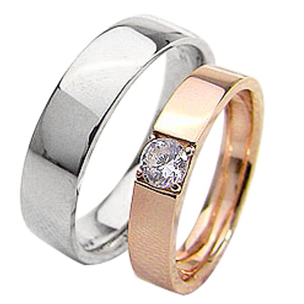結婚指輪 ゴールド 一粒ダイヤモンドリング 0.2ct 平打ち ペアリング ピンクゴールドK10 ホワイトゴールドK10 マリッジリング 10金 2本セット ペア 文字入れ 刻印 可能 婚約 結婚式 ブライダル ウエディング ギフト 新生活 在宅 ファッション