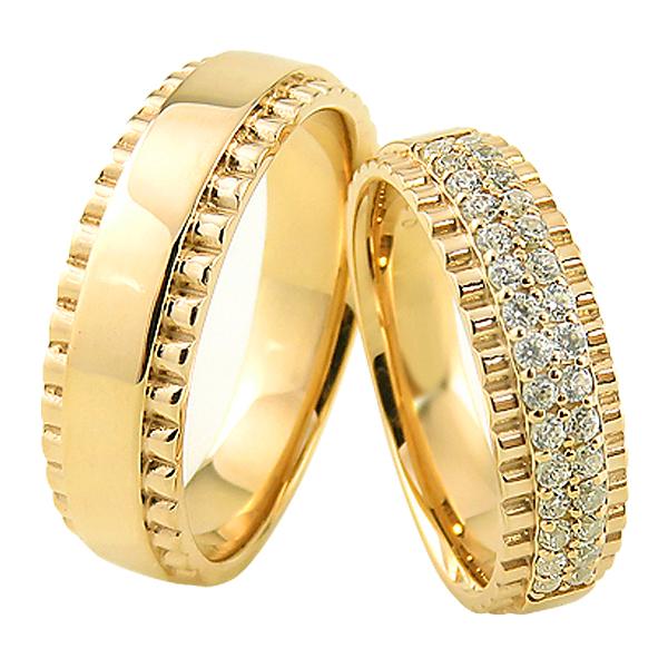 結婚指輪 ゴールド ダイヤモンド デザインリング K10 幅広 ペアリング 10金 マリッジリング 2本セット ペア 文字入れ 刻印 可能 婚約 結婚式 ブライダル ウエディング ギフト 新生活 在宅 ファッション