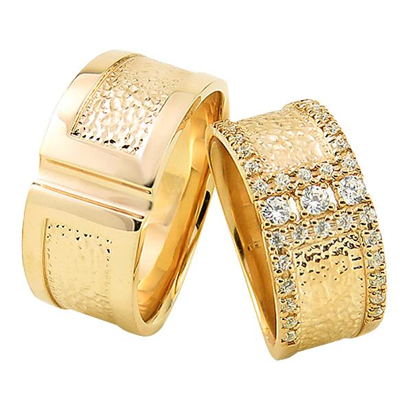 結婚指輪 ゴールド ダイヤモンド デザインリング 幅広 ペアリング 18金 マリッジリング 2本セット ペア 文字入れ 刻印 可能 婚約 結婚式 ブライダル ウエディング ギフト 新生活 在宅 ファッション