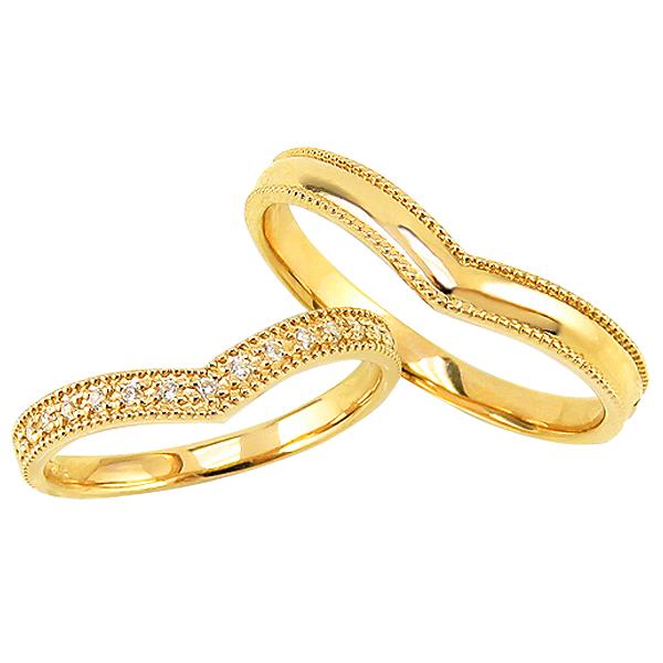 結婚指輪 ゴールド Vライン ダイヤモンド エタニティリング ペアリング 10金 マリッジリング 2本セット ペア 文字入れ 刻印 可能 婚約 結婚式 ブライダル ウエディング ギフト 新生活 在宅 ファッション