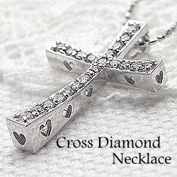 クロス&ハートネックレス/天然ダイヤモンド/ホワイトゴールドK18