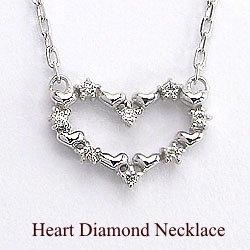 ハートダイヤモンドネックレス ホワイトゴールドK18ペンダント 天然ダイヤモンド アズキチェーン