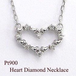 ハートダイヤモンドネックレス Pt900ペンダント 天然ダイヤモンド Pt850アズキチェーン