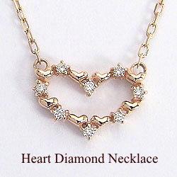 ハートダイヤモンドネックレス ピンクゴールドK18ペンダント 天然ダイヤモンド アズキチェーン