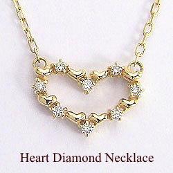 ハートダイヤモンドネックレス イエローゴールドK18ペンダント 天然ダイヤモンド アズキチェーン