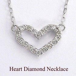 ハートダイヤモンドネックレス K10WGペンダント 天然ダイヤモンド アズキチェーン