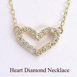 ハートダイヤモンドネックレス K10YGペンダント 天然ダイヤモンド アズキチェーン