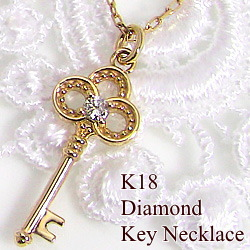 ネックレス 一粒ダイヤモンド ペンダント K18WG K18PG K18YG 鍵 キーペンダント カギ