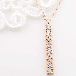 ネックレス レディース 18金 ダイヤモンド ストレートライン 縦長 Iライン ペンダント ゴールド K18 チェーン Diamond Necklace クリスマス プレゼント xmas