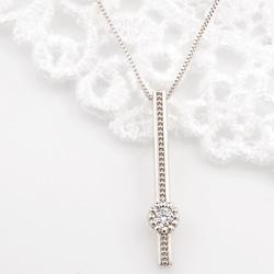 ネックレス レディース ダイヤネックレス プラチナ 一粒ダイヤモンド ストレートライン 縦長 Iライン ペンダント Pt900 850 Diamond Necklace クリスマス プレゼント xmas